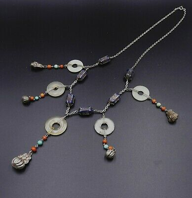 Old Chinese sterling silver chain & enamel dragon bead jade Bi pendant necklace