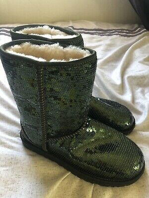 bbdb1d9a34a AUTHENTIC UGGS CLASSIC Short Sequins #3161 sparkle green Boots Women's Size  6