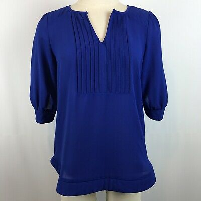 d38ad30f0d1 41 Hawthorn Stitch Fix Blouse Size XS Royal Blue 3 4 Sleeve Quilted  Shoulder Top