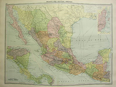 1920 Large Map ~ Mexico & Central America ~ Guatemala British Honduras Panama