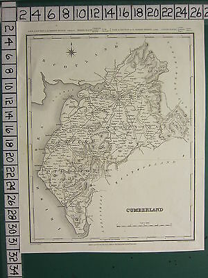 c1837 VICTORIAN MAP ~ CUMBERLAND ~ WESTERN & EASTERN DIVISION ~ KESWICK WIGTON