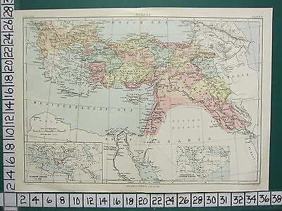 c1892 VICTORIAN MAP ~ TURKEY ~ ARMENIA CYPRUS IRAK-ARABI ~ TURKISH EMPIRE (1850)