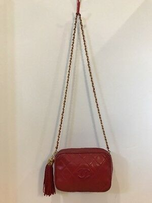 163e00b178f4 Vintage '89 To '91 Chanel Camera Bag Fringe Tassel Red Lamb Leather  Shoulder Bag