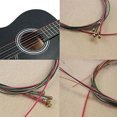 Acoustic Guitar Strings Guitar Strings One Set 6pc Rainbow Colorful Color ChicBW