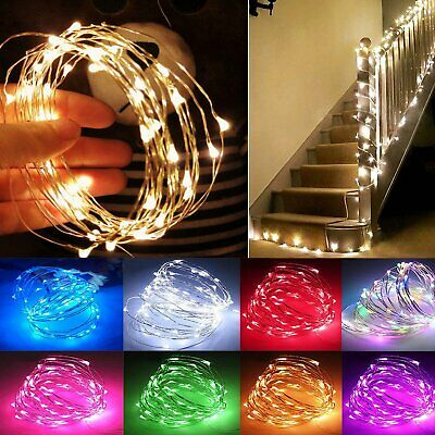 Battery Operated Fairy Lights String Micro Warm Copper/Silver Wire Xmas Light UK
