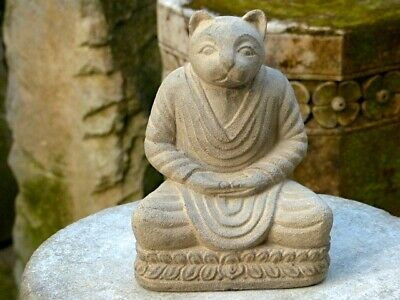 Japonais Chat Statue de Bouddha Ornement Pierre Ancien Yoga, Jizo Bouddhisme