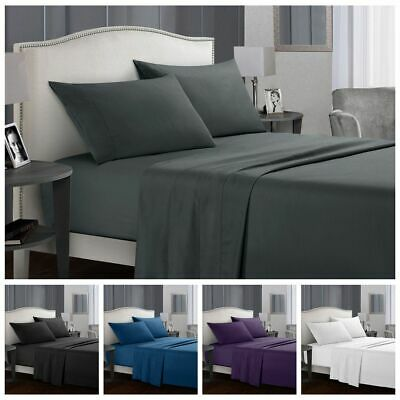 1000TC Deep Pocket Bed Sheets Set Flat & Fitted 4 Piece Single Queen King Size