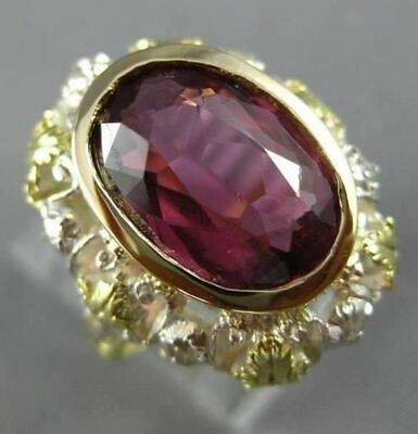 Antique Large 4.25Ct Rose Cut Diamond & Tourmaline 14Kt Two Tone Gold Ring 25485