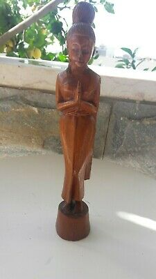 ANTIQUE VINTAGE Walnut Wood Carving Asian Sculpture Wooden figure 30cm 12 inches