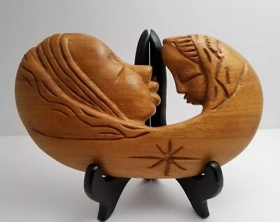 Carved Wooden Folk Art Mother And Child Wall Art Plaque