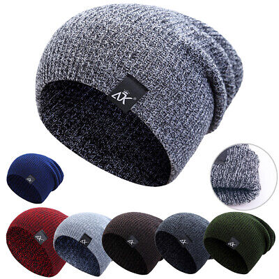 13156dc4e8988 Mens Womens Warm Wool Knit Baggy Beanie Winter Hat Ski Slouchy Chic Knitted  Cap