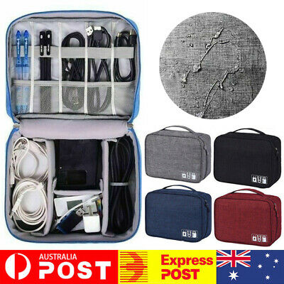 Pouch Storage Electronic Accessories USB Cable Bag Organizer Case For Travel AU