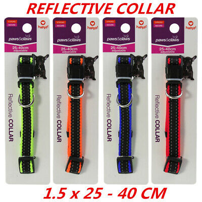 Adjustable Reflective Visibility Dog Cat Collar Pet Puppy Harness 1.5x25-40cm