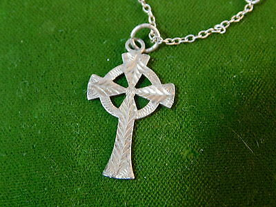 "Vintage Dainty Celtic Irish Cross Sterling Silver Engraved 16"" Necklace  3d 4"