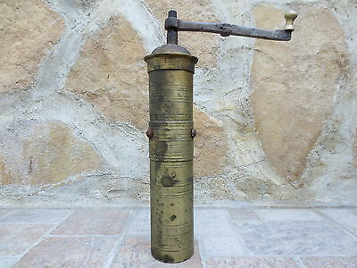 Primitive Antique Ottoman Brass-Carved TUGRA Marked Hand Coffee Grinder 19th #03