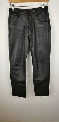 Leather Trousers Pants Jeans Breeches Motorcycle Black Mens Size Medium