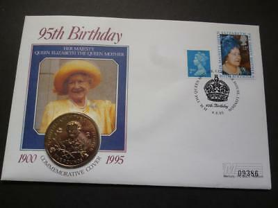 1995 coin cover pnc featuring a Guernsey £5 coin The Queen Mothers 95th Birthday