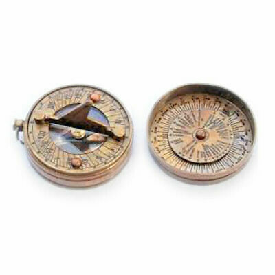 Brass Pocket Sundial Compass with Lid ~ Magnetic ~ Nautical Maritime decor