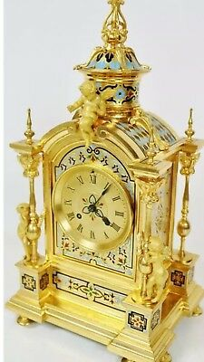 Stunning Antique Huge Rare French 8 Day Bronze Ormolu & Chempleve Enamel Clock