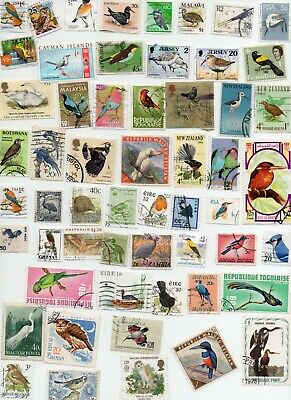 BIRDS on Stamps 100 All Different - Off Paper