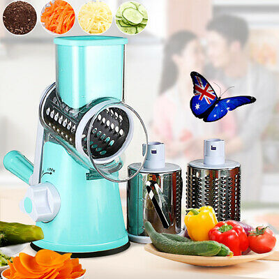 Manual Mandoline Slicer Cutter Salad Maker Vegetable Fruit Rotating Drum Grater