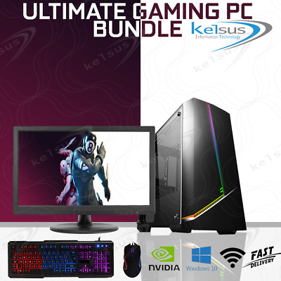 Fast Gaming PC Computer Bundle Monitor Quad Core i5 16GB 1TB Win 10 2GB GT710