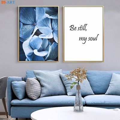 Blue Flower Poster Nursery Wall Art Modern Canvas Painting Room Home Decor