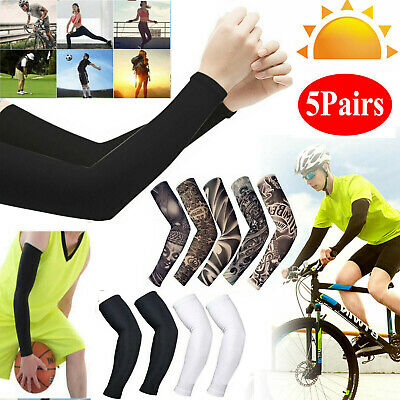 5 Pairs Tattoos Cooling Arm Sleeves Cover UV Sun Protection Outdoor Sport US