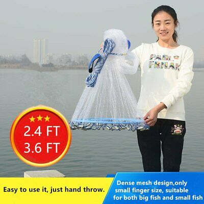 8ft-12ft Hand Cast Mono Fishing Net Spin Network Saltwater Bait small/big Fish J