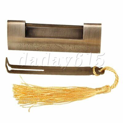 Brass Chinese Antique Bronze Fish Pattern Lock & Key 8.5x3cm for Jewelry Box