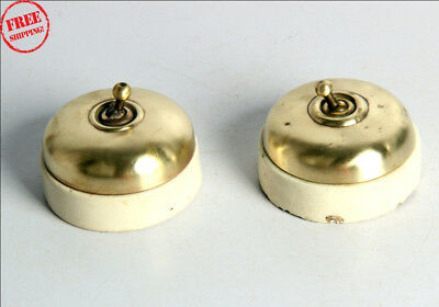 2 Pc Old Vintage Brass & Ceramic Victorian Electric Big Size Switches 9942