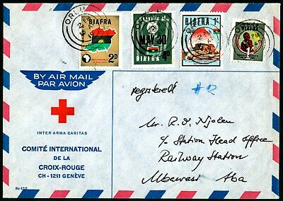 BIAFRA 1969 Local Official Red Cross Cover Cancelled by three ring Orlu