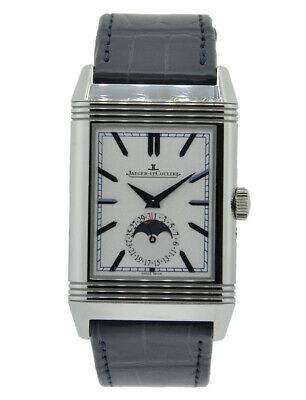 31f350cc9cf Jaeger Lecoultre Reverso Tribute Moon Stainless Steel Silver And Blue Dial  On..