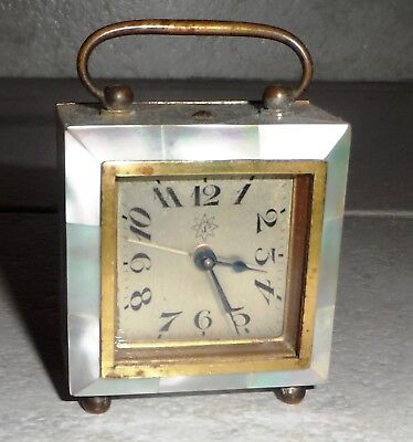 Antique Junghans Germany Clock Art Deco 1920 Mother Of Pearl Travel Alarm Works!