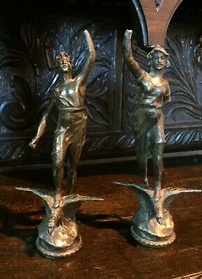 Pair Antique Vintage Spelter French Figures