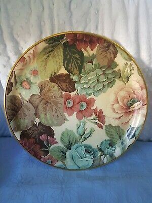 Vintage Beautiful Round Floral Serving Tray.  Gold Rim.  Easywipe.  Large Size.