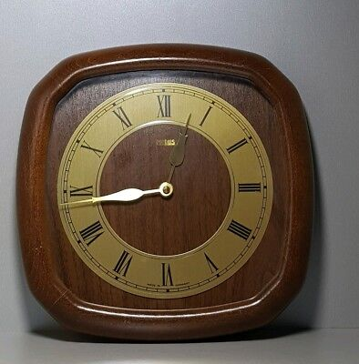 Vintage J.SHRENK JUNGHANS  Wall Clock MEBUS Brass / Wooden Case Quartz Germany