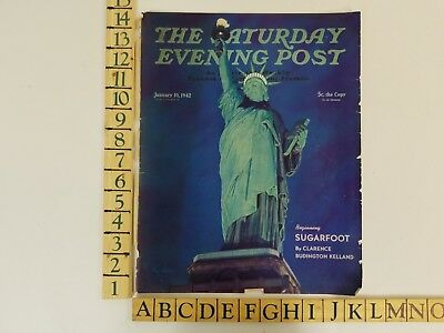 Vintage January 10 1942 Saturday Evening Post Statue of Liberty Cover Only