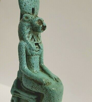 Divine 11cm Glazed Faience Statuette of Egyptian Goddess Sekhmet