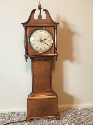 """Vintage miniature grandfather clock. High quality by Trend Clocks. Electric, 23"""""""