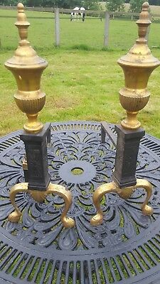 Antique Victorian Brass And Iron Fire Side Andirons Dogs 47cm  High Circa 1870