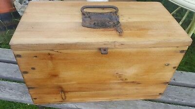 Old Rustic Waxed Pine Tool Box Chest Storage Cast Iron Handle Hinges Drawer