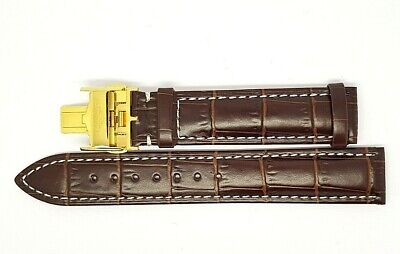 New 19mm Brown Genuine Leather Watch Strap With Gold Plated Buckle For Longines