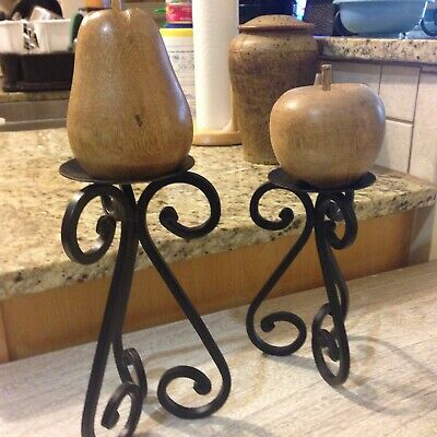 Pair Of Wrought Iron Candle Holders With Scroll Design