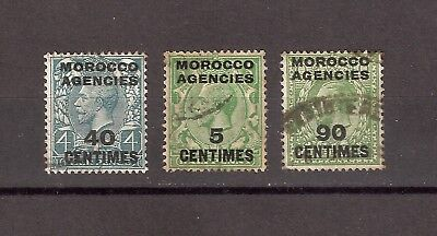 Morocco Agencies 1917-25 French Currency 3 King George V Surcharged Stamps Used