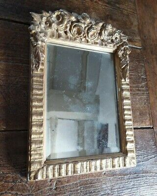 A Small Gilt Framed Antique Bevel Edge Foxed Mirror