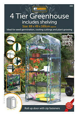 NEW 4 Tier Mini Compact Growhouse Garden Greenhouse With Shelving PVC Plastic