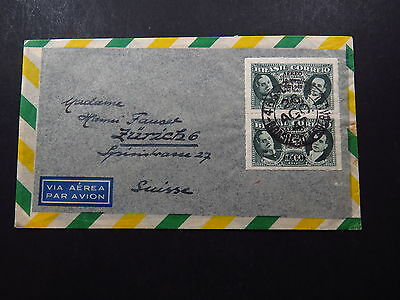 Cover Via Aerea Avion Brazil Brasil to Suisse Switzerland Overprint Pair 1947