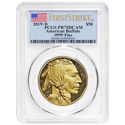 2019-W Proof $50 American Gold Buffalo PCGS PR70DCAM FS Flag Label