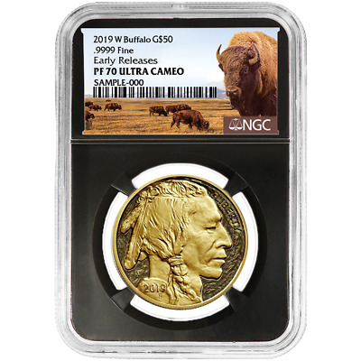 2019-W Proof $50 American Gold Buffalo NGC PF70UC Buffalo ER Label Retro Core